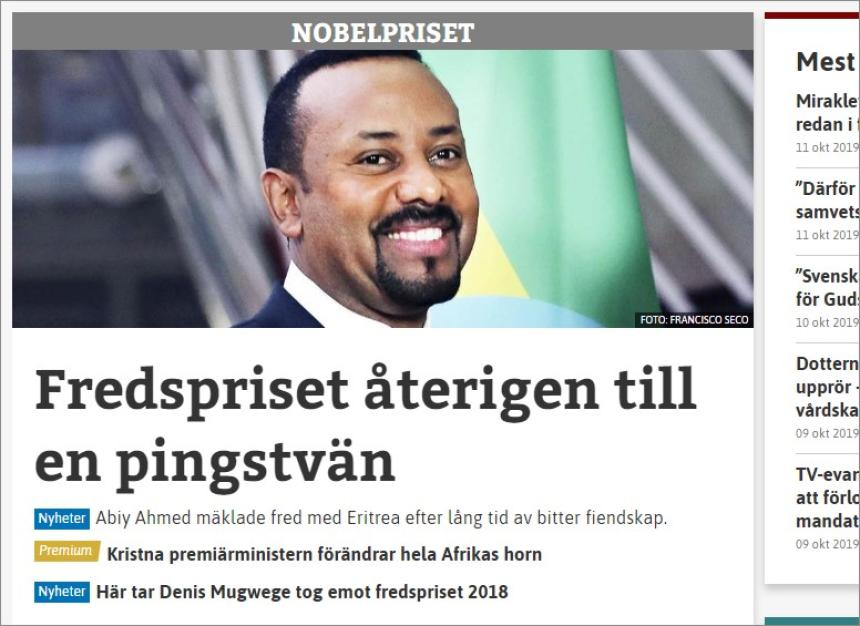 Nobel Peace Premiu 2019 à Abiy Ahmed.