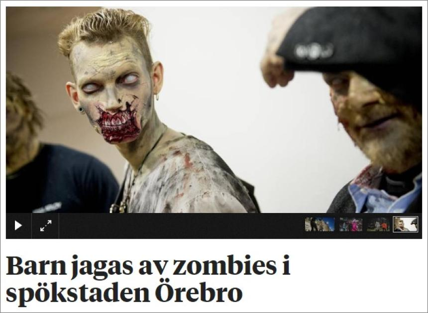 I zitelli assicutatu di zombies in u ghisa di Örebro