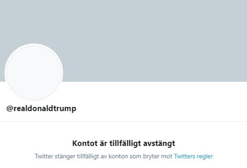 USA:s president har blivit permanent avstängd från Twitter