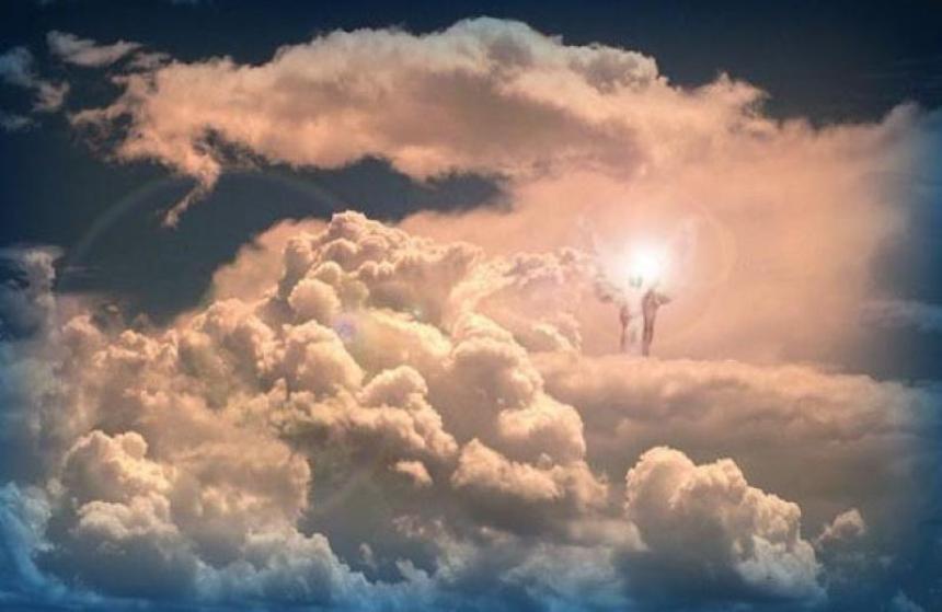Jesus på himlens skyar.